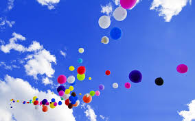 colorful balloons on blue sky clouds high definition