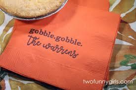 personalized thanksgiving napkins orange