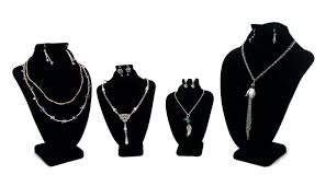 necklace pendant display images 4 piece black velvet necklace and earring combo display bust kit jpg