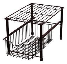 Cabinet Baskets Storage Amazon Com Decobros Stackable Under Sink Cabinet Sliding Basket