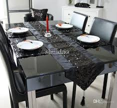 Sequin Table Runner Wholesale Wholesale 03 1 Runner 4placemat Wholeset Black Sequin Table Mat