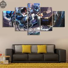 canvas decorations for home overwatch mei 5 panel wall art home decor painting canvas printed