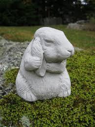 Cement Garden Decor Rabbit Statue Bunny Rabbit Figurine Concrete By Westwindhomegarden
