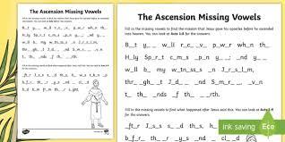 dansk design h rth the ascension missing vowels worksheet activity sheet ni