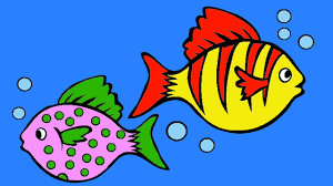 learn colors colorful fish coloring page drawing and painting