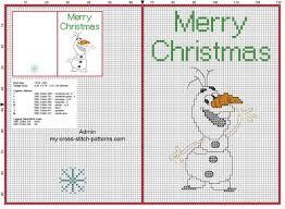 free cross stitch christmas card with funny disney olaf