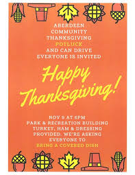 aberdeen community thanksgiving potluck county chamber of