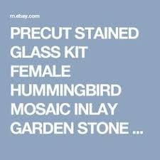 Garden Stone Craft - precut stained glass kit female hummingbird mosaic inlay garden