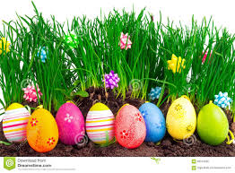 colorful easter eggs with spring grass and decoration stock photo