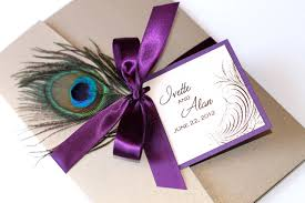 peacock invitations embellished paperie peacock purple and gold wedding invitation