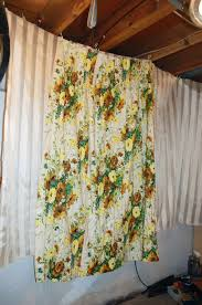 White Curtains With Green Leaves by Pair Vintage Curtains Drapes Yellow Flowers Green Leaves Brown And