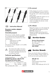 parkside pressure washer adaptor user manual 8 pages