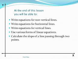 calculate the slope of a line passing through two points david raju y x at the end of this lesson you will be able to write equations for non