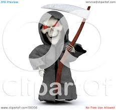 Grim Reaper Halloween Costumes Royalty Free Rf Clipart Illustration 3d Evil Skeleton White