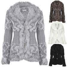 new la s faux fur knitted jacket cardigan womens lined soft warm