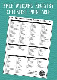 wedding registry list the ultimate wedding registry checklist free printable