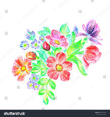decorative flower oil pastel hand drawn decorative flower stock illustration