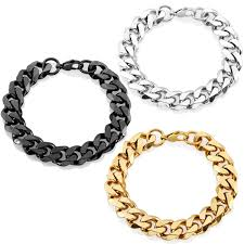 stainless steel chain bracelet images Shop crucible stainless steel 9 inch beveled curb chain bracelet jpg