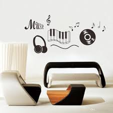 new music note piano cd earphone music classroom wall sticker home