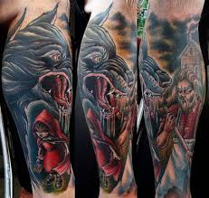 wolf male tattoo red riding hood 3d wolf man tattoo red 3d wolf