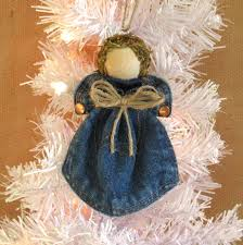 upcycled denim angel christmas tree ornament denim pocket angel