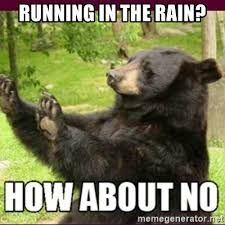 running in the rain how about no bear meme generator