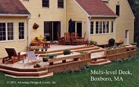 Deck Planters And Benches - multi level backyard deck planters and benches boxboro home design