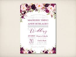 Purple And Silver Wedding Invitations Wedding Invitation Floral Purple Silver Wedding Invitation Plum