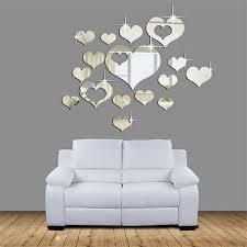 home decor offers 3d acrylic heart shaped mirror wall stickers plastic removable heart