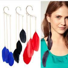 one side feather earring feather earrings for one ear earrings