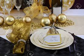 black and gold centerpieces for tables happy new years eve elegant dinner table setting with black and