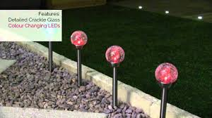 Solar Plant Lights by 4 Colour Changing Solar Crackle Ball Stainless Stake Lights Youtube