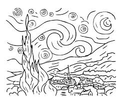 coloring page for van vincent van gogh coloring pages van starry night coloring page to