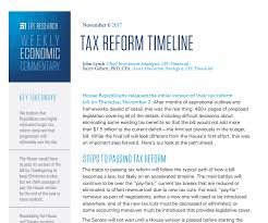 tax reform timeline weekly economic commentary november 6