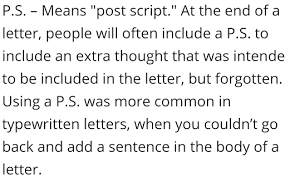 p s at the end of a letter format