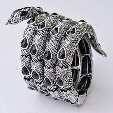 crystal snake bracelet images Vintage silver stretch snake bracelet armlet upper arm cuff punk jpg