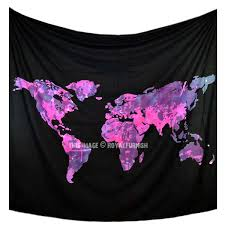 Map Bedding Black And Pink Multi World Map Wall Tapestry Atlas Bedding