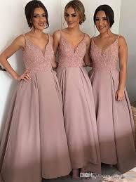 bridesmaid dresses new gold ankle length bridesmaid dresses v neck spaghetti