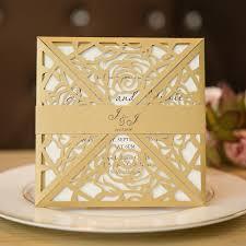 wedding invitations gold unique gold laser cut wedding invitation cards swws005
