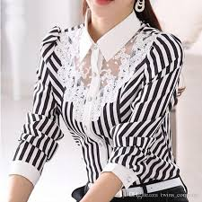 black and white blouse 2018 sleeve lace tops striped blouse autumn turn