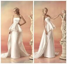 2015 fall winter designer wedding dresses strapless tiered peplum