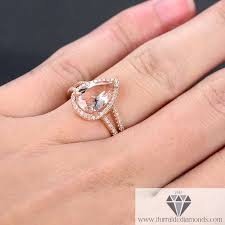 pear engagement ring 8x12mm pear shape morganite engagement ring split shank pave