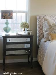 bedroom black wooden with silver mirrored nightstand for