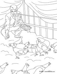 farmer feeding his hens coloring pages hellokids com