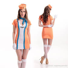 Egyptian Queen Halloween Costume 2016 Stewardess Uniforms Orange Pilot Flight Stewardess