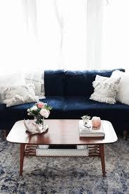 blue sofa in living room twin metal floor lamp target twin soft