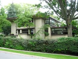 frank lloyd wright architectural style with awesome facade of