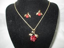 red necklace jewelry images Vintage beautiful red rose necklace with matching pierced earrings jpg