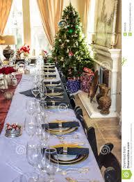 christmas table setting images christmas table setting tree and presents stock image image of