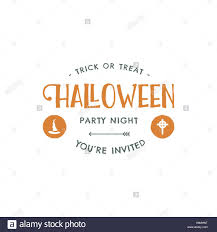 halloween party label template with hat and typography elements